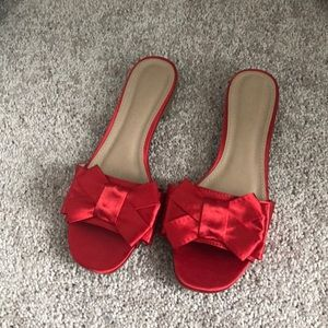 Red Satin Bow Slide Sandals
